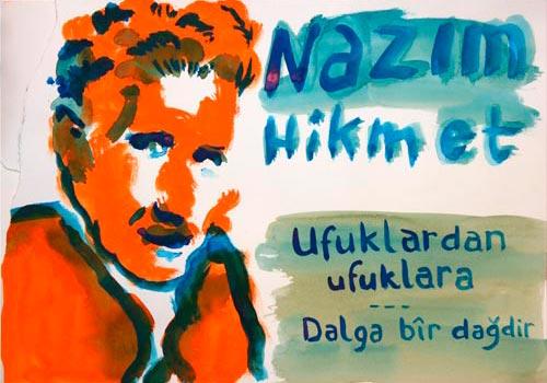 Nazim Hikmet gedicht en tekening