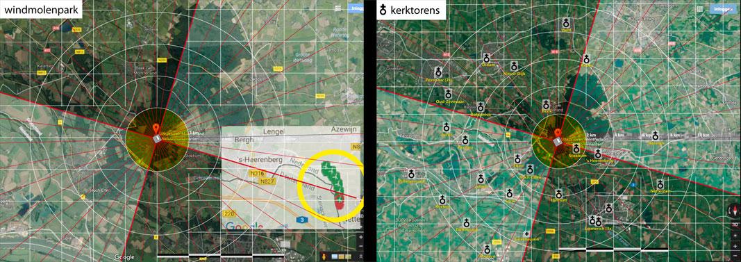windmolens en kerktorens gemarkeerd in satellietkaart